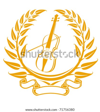 Violin symbol in laurel wreath isolated on white. Vector version also available in gallery - stock photo