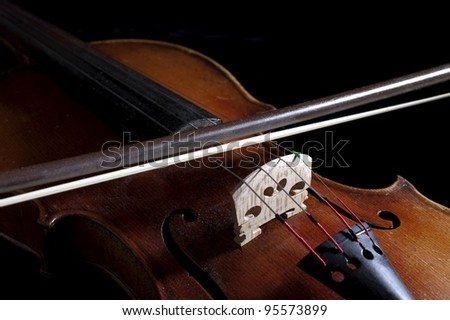 Violin With Bow - stock photo