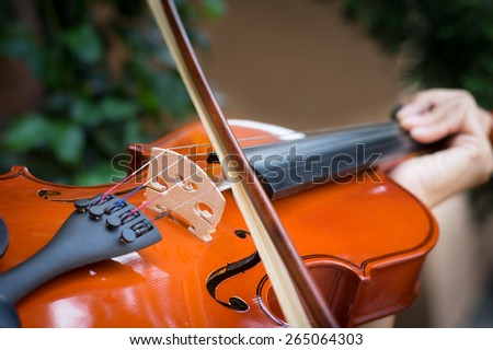 Violinist playing violin,music concept. - stock photo