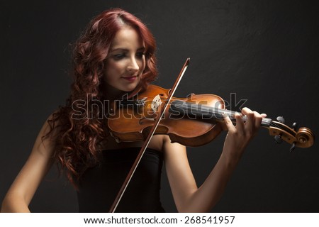 Violinist woman - stock photo