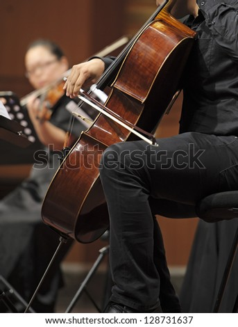 violoncellist perform on wind music chamber music concert - stock photo