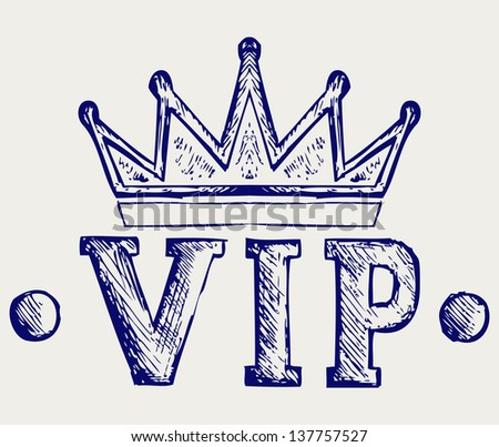 Vip crown symbol. Doodle style. Raster version - stock photo