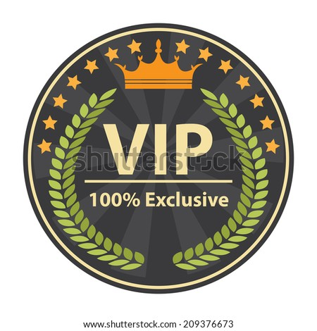 VIP 100 Percent Exclusive Sign on Gray Vintage, Retro Stamp, Icon, Button, Label Isolated on White - stock photo