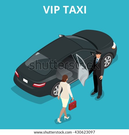 VIP taxi concept. A pretty business woman getting into a taxi cab. VIP service  flat 3d  isometric illustration.  - stock photo