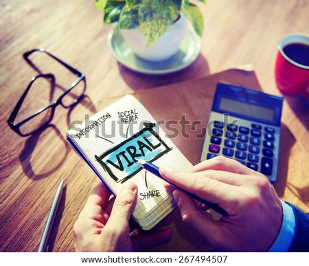 Viral Accounting Sharing Working at Home Writing Concept - stock photo