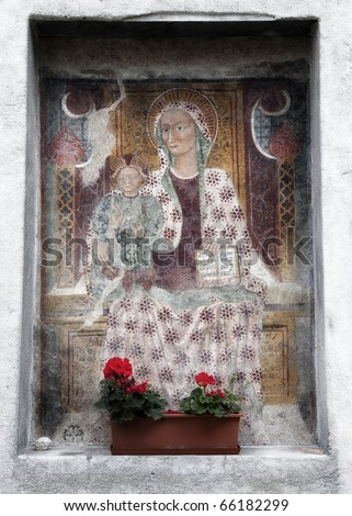 Virgin Mary fresco painting - stock photo