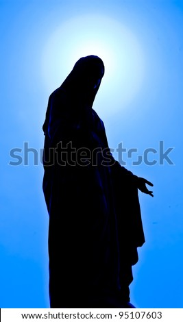 Virgin mary statue in thailand - stock photo