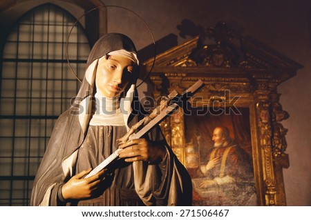 Virgin Mary statue in the Holy Mary of Grace church in Milan, Italy - stock photo