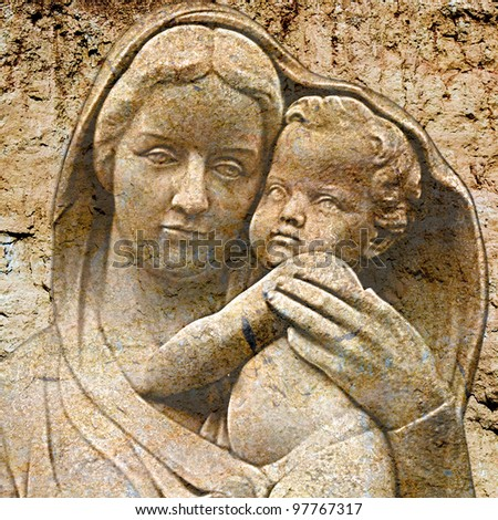 virgin mary with jesus on vintage background - stock photo