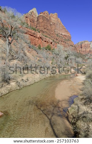 Virgin River and red rock canyon, Zion National Park, Utah - stock photo