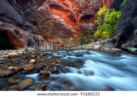Virgin River cascades in the The Narrows of Zion Canyon - southwest Utah - stock photo