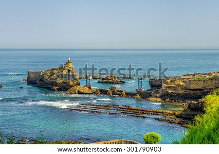 Virgin Rock in Biarritz, France. - stock photo