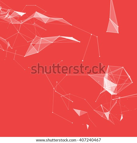 Virtual abstract background with particle, molecule structure. genetic and chemical compounds. creative Space and constellations. Science and connection concept. Social network. Red and white color. - stock photo
