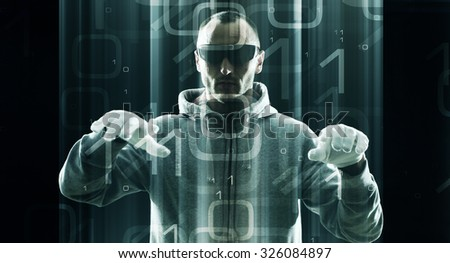 Virtual admin protection, cyborg in cyberspace stealing data - stock photo