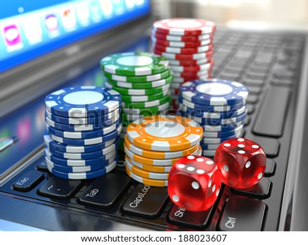 Virtual casino. Online gambling. Laptop with dice and chips. 3d - stock photo
