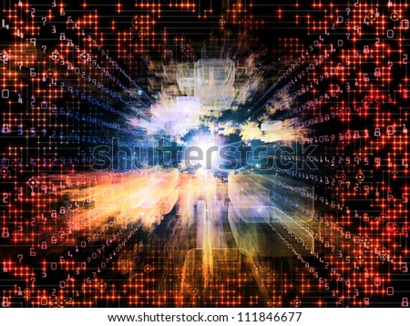 Virtual Construction Series.  Abstract composition of rectangular design elements in perspective suitable as design element in projects related to science, computers and technology - stock photo