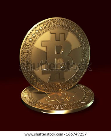 Virtual currency - bitcoin - stock photo