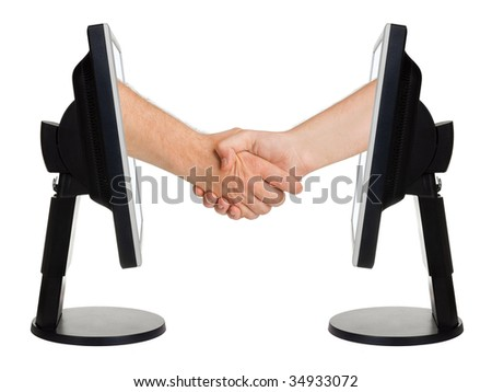 Virtual handshake - internet business concept isolated on white background - stock photo