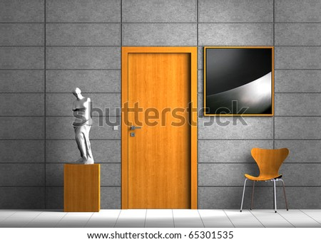 Virtual indoor scene - the photo in the frame can easily be exchanged - stock photo