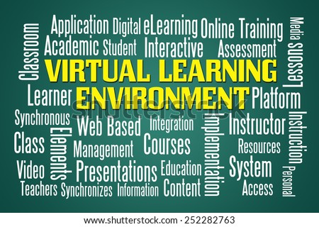 Virtual Learning Environment word cloud on green blackboard - stock photo