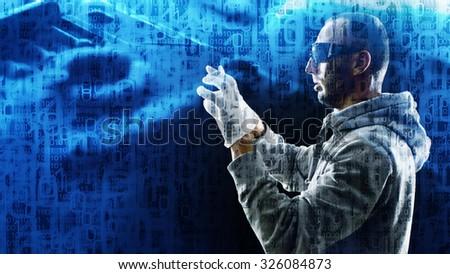 Virtual reality futuristic concept - stock photo