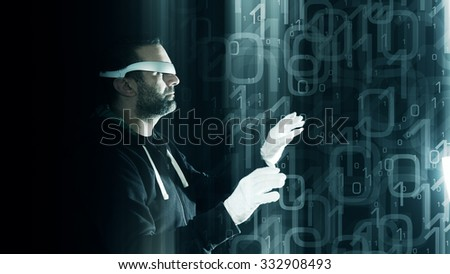 Virtual reality glasses, futuristic hacker, binary background - stock photo