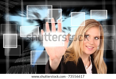 VIrtual reality scheme with beautiful woman touching the buttons.Focused on hand. - stock photo
