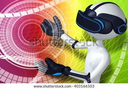 Virtual Reality VR Background - stock photo
