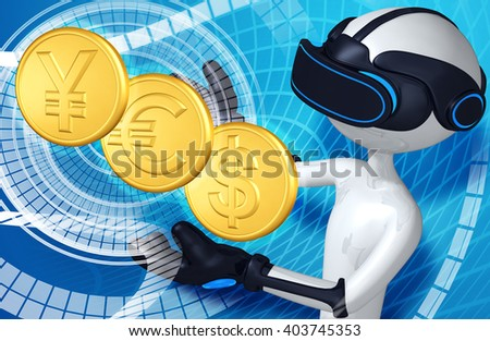 Virtual Reality VR Currency 3D Illustration - stock photo