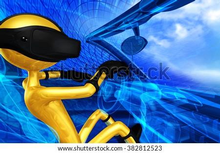 Virtual Reality VR Driving - stock photo