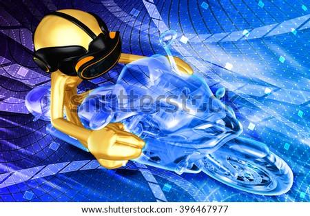Virtual Reality VR Motor Cycle Racing 3D Illustration - stock photo