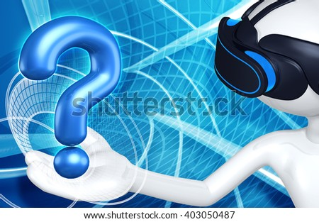 Virtual Reality VR Question 3D Illustration - stock photo
