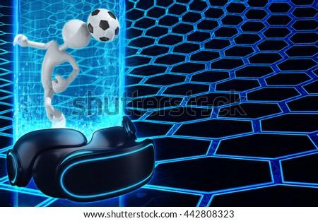 Virtual Reality VR Soccer 3D Illustration - stock photo
