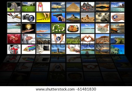 Virtual screen - all pictures coming from my gallery - stock photo