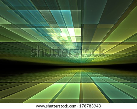 Virtual space: abstract graphic for subjects such as cyberspace, virtual reality and information technology - stock photo