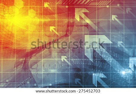 Virtual Technology Background - stock photo