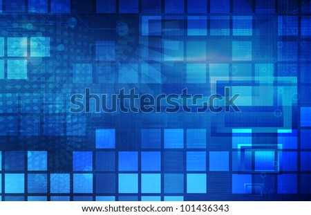 Virtual Technology with Data Network Stream Art - stock photo