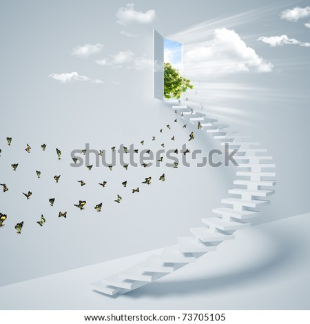 Virtual three-dimensional ladder into the sky. Collage. - stock photo