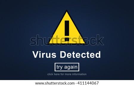 Virus Detected Alert Hacking Piracy Risk Shield Concept - stock photo