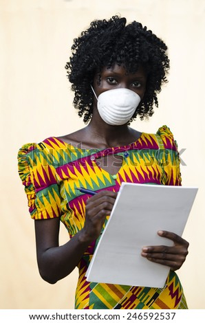 Virus Medicine Symbol: Young African Doctor Taking Notes - stock photo