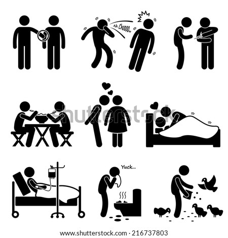 Virus Spread Diseases Transmission Infections Ways Stick Figure Pictogram Icons - stock photo