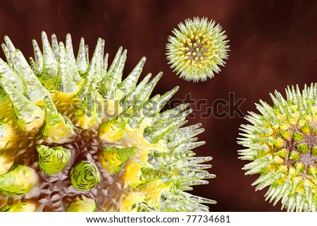 Viruses in a blood stream. Medical visualisation. 3d rendered Illustration. - stock photo