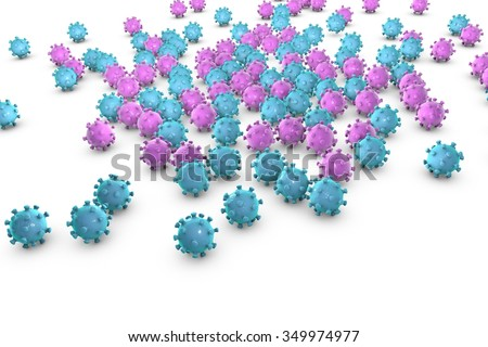 Viruses isolated on white background. Microscopic view of influenza virus, Coronavirus, herpes, HIV, adenovirus, model of virus which causes flu, SARS and MERS, Middle East Respiratory Syndrome - stock photo