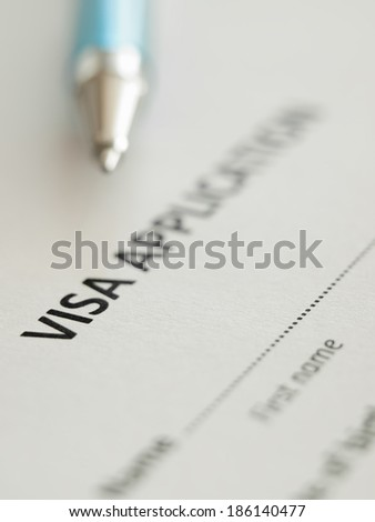 VIsa application form with pen, shallow DOF,for immigration,travel,social issues themes - stock photo