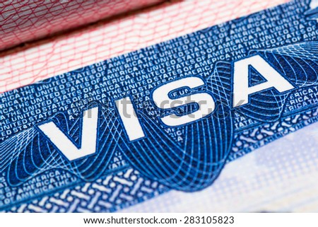 visa passport stamp travel american usa busines - stock photo
