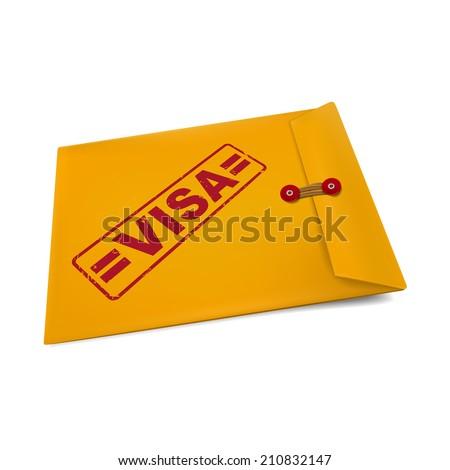 visa stamp on manila envelope isolated on white - stock photo