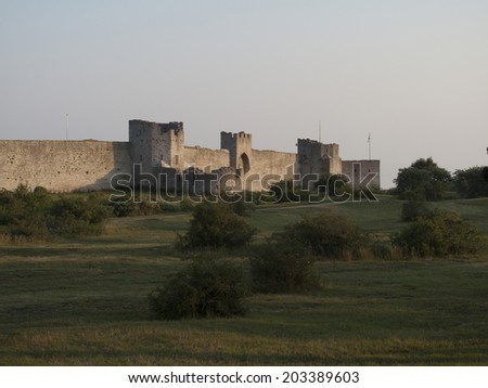 Visby medieval citywall during summer UNESCO World Heritage Site Gotland Sweden - stock photo