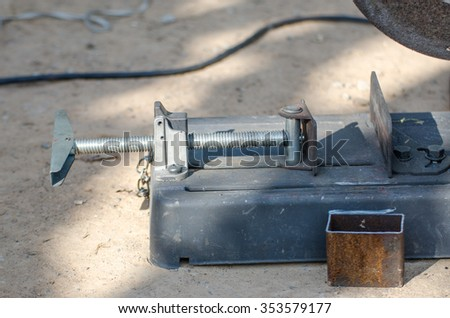 Vise, metal cutting machines.Metal cutting, welding - stock photo