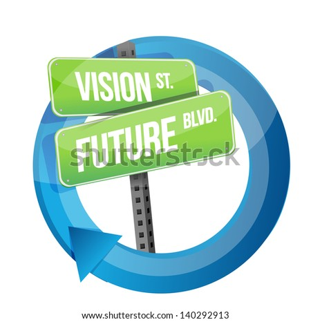 vision and future road sign cycle illustration design over white - stock photo