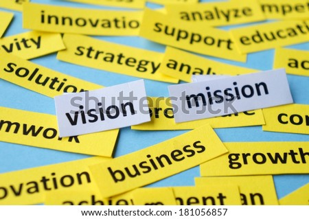Vision and Mission in paper cuts - stock photo
